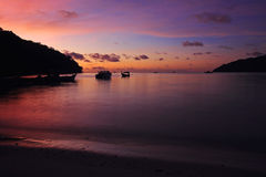 Beautiful twilight sky at Andaman sea on Koh Surin Royalty Free Stock Photography