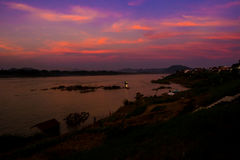 Beautiful twilight sky with a huge river. From viewpoint , wonderful of natural border between countries. Natural paradise on earth royalty free stock photos