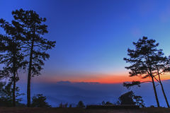 Beautiful twilight time nature background mountains. And sky at huai nam dang national park, Chiang mai, Thailand Royalty Free Stock Photography