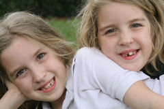 Beautiful twin children outside royalty free stock photos