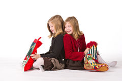 Beautiful twin girls at Christmas Royalty Free Stock Photos
