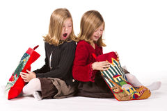 Beautiful twin girls at Christmas Royalty Free Stock Images