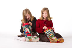 Beautiful twin girls at Christmas Stock Image
