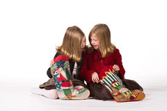 Beautiful twin girls at Christmas Royalty Free Stock Image