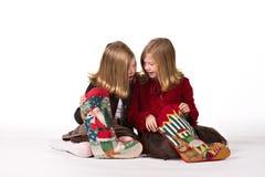 Beautiful twin girls at Christmas Royalty Free Stock Image