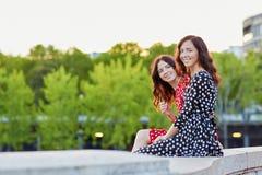 Beautiful twin sisters on the Bir Hakeim bridge in Paris, France Royalty Free Stock Images