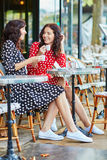 Beautiful twin sisters drinking coffee Royalty Free Stock Images