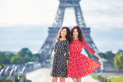 Beautiful twin sisters in front of the Eiffel tower Stock Photography
