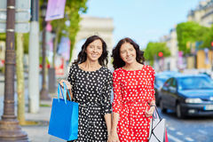Beautiful twin sisters in Paris, France Royalty Free Stock Photography