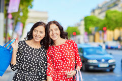 Beautiful twin sisters in Paris, France Stock Photos