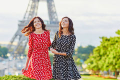 Beautiful twin sisters in Paris, France Stock Image