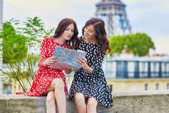 Beautiful twin sisters in Paris, France Stock Images