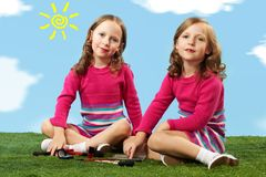 Beautiful twins Stock Photography