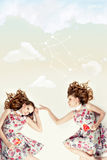 Beautiful  twins. Creative collage. Stock Image