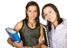 Beautiful twins - students Stock Images