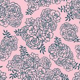 Beautiful two colored pink and green seamless pattern with roses, leaves. Hand drawn contour lines. vector illustration