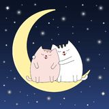 A beautiful two cute cats sit on a moon. Picture for t-shirt graphics for kids and other uses. Greeting card Stock Photos