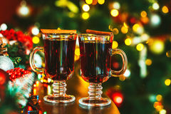 Beautiful two glasses of mulled wine Stock Images