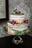 Beautiful two-tiered wedding cake Stock Photo