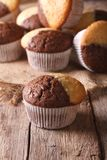 Beautiful two-tone chocolate muffins close-up, vertical Royalty Free Stock Photography