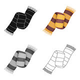 Beautiful two-tone scarf.Scarf with her ropes on the ends.Scarves and shawls single icon in cartoon style vector symbol Stock Images