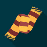 Beautiful two-tone scarf.Scarf with her ropes on the ends.Scarves and shawls single icon in flat style vector symbol. Stock web illustration Royalty Free Stock Photos