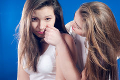 Beautiful two young woman cherishing each other Royalty Free Stock Photo