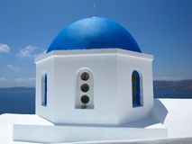 Beautiful typical blue dome church and blue sky on Santorini, Gr Royalty Free Stock Images