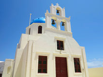 Beautiful typical blue dome church and blue sky on Santorini, Gr Stock Images