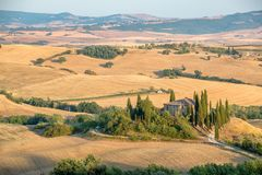 Beautiful typical countryside summer landscape in Tuscany Italy Stock Photos