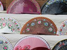 Beautiful typical fans to cool the air and the summer heat stock photo