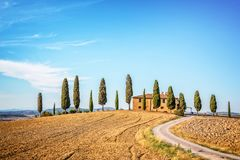 Beautiful typical landscape of Val d`Orcia in Tuscany Italy. Beautiful typical landscape of Val d`Orcia in Tuscany, Italy Stock Image