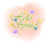 Beautiful Typographical Spring Background with flowers Royalty Free Stock Images