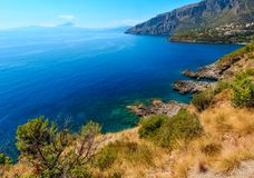 Tyrrhenian sea landscape, Campania, Italy. Beautiful Tyrrhenian sea coastline landscape. Not far from Sapri, Campania, Italy royalty free stock images