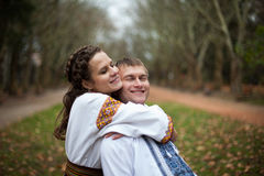 Beautiful ukrainian bride and groom in native embroidery suits h royalty free stock image