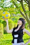 Beautiful Ukrainian girl with a ball Royalty Free Stock Photos