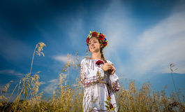 Beautiful ukrainian girl with braid posing at field Stock Image