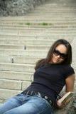 Beautiful Ukrainian student. The student sat on the stairs Stock Photos
