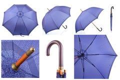 Beautiful umbrella cane blue collage Stock Photo