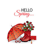 Beautiful umbrella, rubber boots with tulips, bag and lipstick. Vector illustration for a card or poster. Print on clothes. Spring. Fashion & Style vector illustration