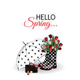 Beautiful umbrella, rubber boots with tulips, bag and lipstick. Vector illustration for a card or poster. Print on clothes. Spring. Fashion & Style Stock Photos