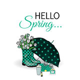 Beautiful umbrella, rubber boots with tulips, bag and lipstick. Vector illustration for a card or poster. Print on clothes. Spring. Fashion & Style stock illustration
