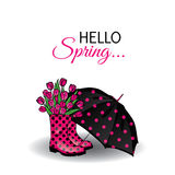 Beautiful umbrella and rubber boots with tulips. Vector illustration for a card or poster, print on clothes. Fashion & Style. Spring royalty free illustration