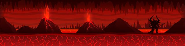 Burning hell landscape with volcanoes and demon. Beautiful unending burning hell landscape with lava river volcanoes and demon silhouette stock illustration