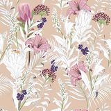 Beautiful unfinished garden flowers outline in hand sketch and d. Rawing ,many kind of floral in seamless pattern vector illustration on pastel brush pink stock illustration