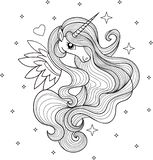 A beautiful unicorn. Black and white. Vector royalty free illustration