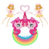 Beautiful unicorn and fairy-tale princess castle Stock Photo