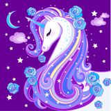 A beautiful unicorn. With a long mane, on a purple background. Vector illustration vector illustration