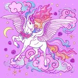 A beautiful unicorn with a long mane, on a purple background. Vector illustration royalty free illustration