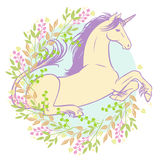 Beautiful unicorn lying in the grass. Vector illustration in pastel tones on white background Stock Photos